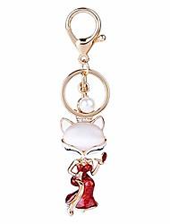 cheap -Fox Keychains for Women Keychanins Rhinestone Keyring Car Key Decor Bag Charm Purse Pendant Gifts Red