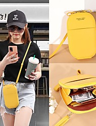 cheap -Women's Bags PU Leather Mobile Phone Bag Zipper Print Plain 2021 Daily Date Wine Black Red Yellow