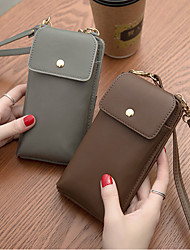cheap -Women's Bags PU Leather Mobile Phone Bag Solid Color 2021 Daily Holiday Black Green Gray Coffee