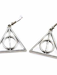cheap -Simple Triangular Geometry Hallow Pendant Necklace(silver earring)