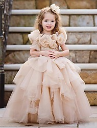 cheap -Princess / Ball Gown Floor Length Wedding / Party Flower Girl Dresses - Lace / Tulle Sleeveless Jewel Neck with Tier / Appliques