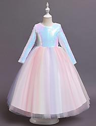 cheap -Kids Little Girls' Dress Unicorn Solid Colored Sequins Rainbow Asymmetrical Long Sleeve Cute Dresses New Year Slim