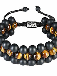 cheap -Mens Triple Layered Bead Bracelet 8mm Semi-Precious Healing Stones Black Matte Agate Tiger Eye Beads Macrame Adjustable Bracelet for Men Boys B007