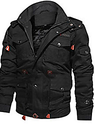 cheap -Men's Jacket Solid Colored ArmyGreen Black khaki M L XL XXL