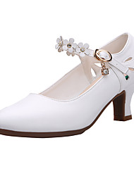 cheap -Women's Modern Shoes Heel Thick Heel White Black Buckle Adults'