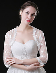cheap -3/4 Length Sleeve Coats / Jackets / Shawls Tulle Wedding / Party / Evening Shawl & Wrap / Women's Wrap With Lace