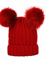 cheap -Koolee Winter Warm Hat, Womens Knit Beanie Cap with Double Pompom Ears (Red)