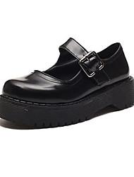 cheap -Women's Flats Lolita Shoes Flat Heel Round Toe Classic Vintage Daily PU Summer Black