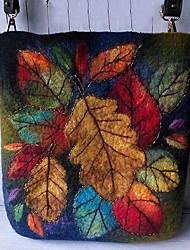 cheap -women colorful leaf diy lamb hair bag crossbody bag shoulder bag