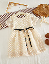 cheap -Kid's Little Girls' Dress Luxury Solid Color Dresses