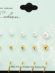 cheap -Women's Stud Earrings Earrings Set Geometrical Precious Fashion Imitation Pearl Earrings Jewelry Gold / Silver For Christmas Halloween Party Evening Gift Festival 1 set