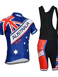 cheap -21Grams Men's Short Sleeve Cycling Jersey with Bib Shorts Summer Polyester Blue Australia National Flag Bike Clothing Suit 3D Pad Quick Dry Moisture Wicking Breathable Reflective Strips Sports Graphic