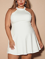 cheap -A-Line Minimalist Plus Size Homecoming Cocktail Party Dress Halter Neck Sleeveless Short / Mini Stretch Fabric with Lace Insert 2021