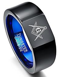 cheap -men's masonic tungsten ring vintage black freemason symbol wedding anniversary band size t 1/2