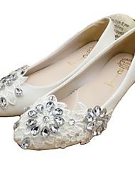 cheap -Women's Wedding Shoes Flat Heel Round Toe Wedding Flats Sweet Wedding PU Rhinestone Sequin Solid Colored Flat bottom [2020 version standard code] 3 cm heel [standard size] 5 cm heel [standard size]