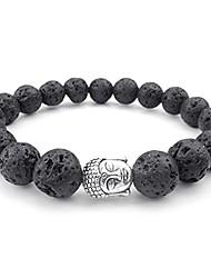 cheap -natural energy gemstone lava beads mens womens bracelet, 10mm buddha mala, black silver