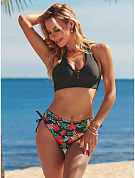 cheap -Women's New Sexy Modern Tankini Swimsuit Floral Leaf Hollow Out Tie Knot Open Back Halter Blouse Normal Strap Swimwear Bathing Suits Black / Bikini / Party / Bow / Print