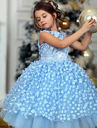 cheap -Princess / Ball Gown Knee Length Wedding / Party Flower Girl Dresses - Tulle Sleeveless Jewel Neck with Tier / Appliques