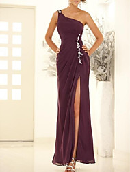 cheap -A-Line Empire Sexy Wedding Guest Formal Evening Dress One Shoulder Sleeveless Ankle Length Chiffon with Split Appliques 2020