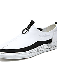 cheap -Men's Loafers & Slip-Ons Casual Daily Walking Shoes Leather Breathable Non-slipping Shock Absorbing White Black Color Block Fall Spring