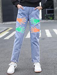 cheap -Kids Girls' Basic Streetwear Blue Print Print Jeans Blue