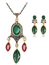 cheap -Women's Jewelry Set Geometrical Precious Vintage Boho Resin Gold Plated Earrings Jewelry Blue / Red / Green For Christmas Wedding Halloween Party Evening Gift 1 set