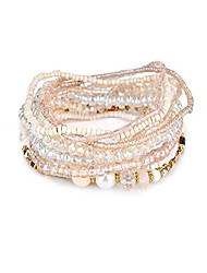 cheap -Multi Layers Handmade Bracelet Bohemian Beaded Bracelet Colorful Strand Wrap Layered White Faux Pearl (Beige)