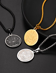 cheap -Women's Men's Pendant Necklace Necklace Coin Fashion Classic Stainless Steel Silver Gold Black 55+5 cm Necklace Jewelry For Street Gift Festival