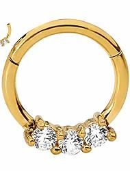cheap -316l surgical steel 16g cz gem hinged segment ring body piercing - 10mm yellow