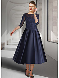cheap -A-Line Mother of the Bride Dress Elegant Jewel Neck Tea Length Lace Satin 3/4 Length Sleeve with Pleats Appliques 2021 / Illusion Sleeve