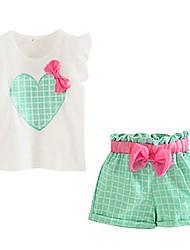 cheap -girls clothes sets sleeveless t-shirts plaid shorts vest summer green