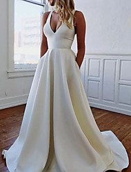 cheap -A-Line Wedding Dresses V Neck Sweep / Brush Train Italy Satin Sleeveless Simple with Pleats 2021