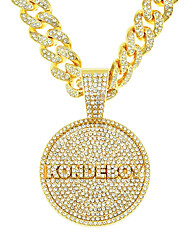 cheap -Men's Long Necklace Cuban Link Trendy Alloy Silver Gold 55 cm Necklace Jewelry 1pc For Street