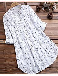 cheap -Women's Plus Size Tops Blouse Print Floral Large Size V Neck Long Sleeve Streetwear Big Size L XL XXL 3XL 4XL White Blue Green