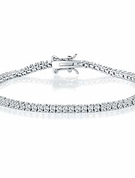 cheap -GMESME 18K White Gold Plated 2.0 Round Cubic Zirconia Classic Tennis Bracelet 7.5 Inch for Women Men