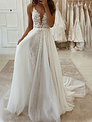 cheap -A-Line Wedding Dresses V Neck Floor Length Lace Tulle Sleeveless Romantic Beach with Pleats Appliques 2021