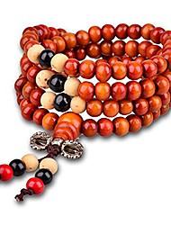 cheap -6MM Sandalwood Bracelet Link Wrist Tibetan 108 Beads Prayer Buddha Mala Chinese Knot Elastic