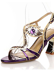 cheap -Women's Sandals Chunky Heel Round Toe Block Heel Sandals Sexy Wedding Daily Walking Shoes Leather Rhinestone Buckle Solid Colored Purple Gold