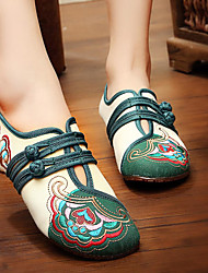 cheap -chinese embroidered flower mary janes buckle casual flat loafers