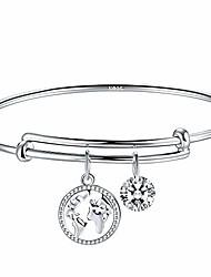 cheap -world map silver bracelet for women, adjustable silver charm bracelet bangle, add-on zirconia pendants bracelet, packing in elegant jewelry box