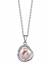 cheap -the pearl source 9-10mm genuine pink freshwater cultured pearl & cubic zirconia johnson pendant necklace for women