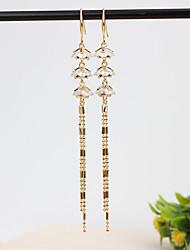 cheap -Women's Clear Cubic Zirconia Hoop Earrings Geometrical Happy Stylish Simple Earrings Jewelry Gold / Silver For Daily Prom