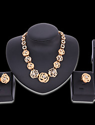 cheap -Women's Jewelry Set Bridal Jewelry Sets Cut Out Flower Fashion Rhinestone Gold Plated Earrings Jewelry Gold For Christmas Wedding Halloween Party Evening Gift 1 set