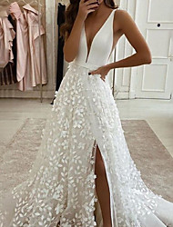 cheap -A-Line Wedding Dresses V Neck Sweep / Brush Train Lace Satin Sleeveless Country Romantic with Appliques Split Front 2021