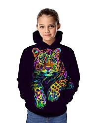 cheap -Kids Girls' Active Tiger Graphic 3D Animal Print Long Sleeve Hoodie & Sweatshirt Rainbow