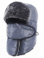 cheap -Trapper Hat, Winter Ski Hats, Leather Warm Caps with Face Mask and Ear Flaps Gray