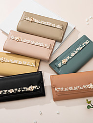 cheap -Women's Bags PU Leather Wallet Embossed Print Plain 2021 Daily Date Black Yellow Almond Blushing Pink