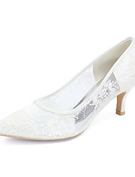 cheap -Women's Wedding Shoes Kitten Heel Pointed Toe Minimalism Wedding Party & Evening Lace Floral White Black Pink