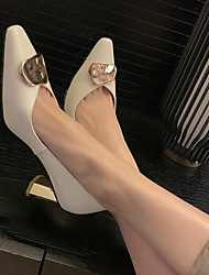 cheap -Women's Wedding Shoes Chunky Heel Pointed Toe Wedding Daily Nappa Leather White Black