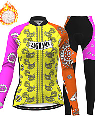 cheap -21Grams Women's Long Sleeve Cycling Jersey with Tights Winter Fleece Polyester Black / Yellow Bike Clothing Suit Thermal Warm Fleece Lining Breathable 3D Pad Warm Sports Graphic Mountain Bike MTB
